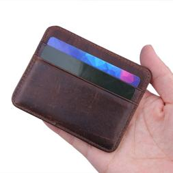 100% Real Genuine Leather Convenient ID Pocket Bank Credit C