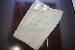 25633 New Mens Haggar Cool18 Beige Flat Khaki Chino Golf Sho