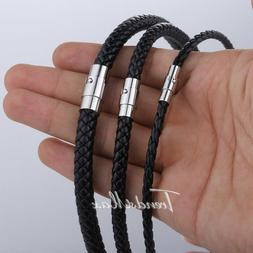 4/6/8mm Mens Brown/Black Rope Leather Necklace Choker Cord 1