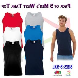5 PACK Fruit of the Loom Men's Value weight Athletic Vest To