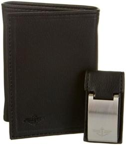 $81 Dockers Men Black Leather Trifold Rfid 6cc Photo Id Wall