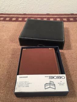 beautiful tan leather bifold wallet cherokee passcase new in