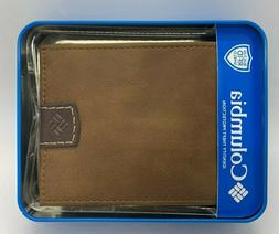 COLUMBIA BI-FOLD MENS WALLET BRAND NEW BROWN LEATHER