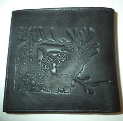 Big Buck Tall Hipster Genuine Leather Wallet, Black Style 56