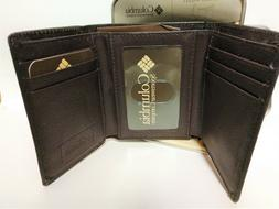 Brand New Columbia Mens Trifold Leather Brown Wallet