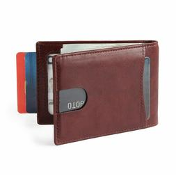 Brown Nappa Leather Minimalist Front Pocket Wallets for Men