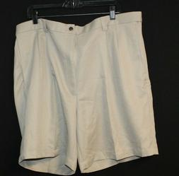 Haggar Cool 18 Men's Pleated Golf Shorts 42W Tan Adjustable