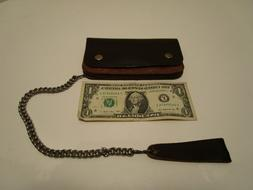 """Dark Brown Leather Trucker Wallet 6.5"""" by 4"""" with 12"""" chain"""