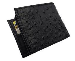 Mens Leather Cowboy Bifold Ostrich Skin Imprint Credit Card