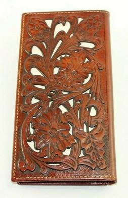 GENUINE LEATHER EMBOSSED FLORAL WALLET WESTERN FASHION ART M
