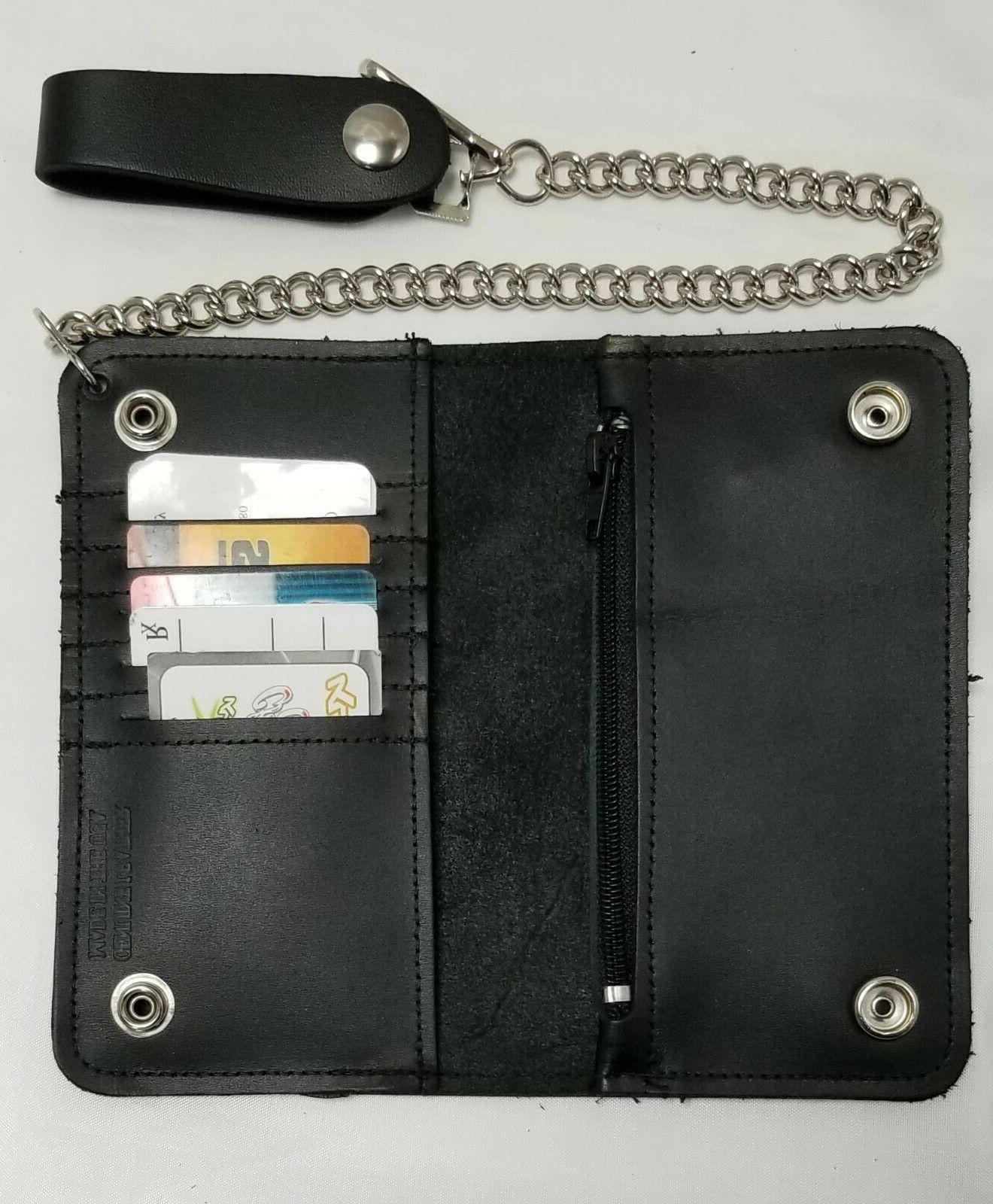"""Black Wallet 6.5"""" x 3.75"""" Snaps Chain IN USA"""