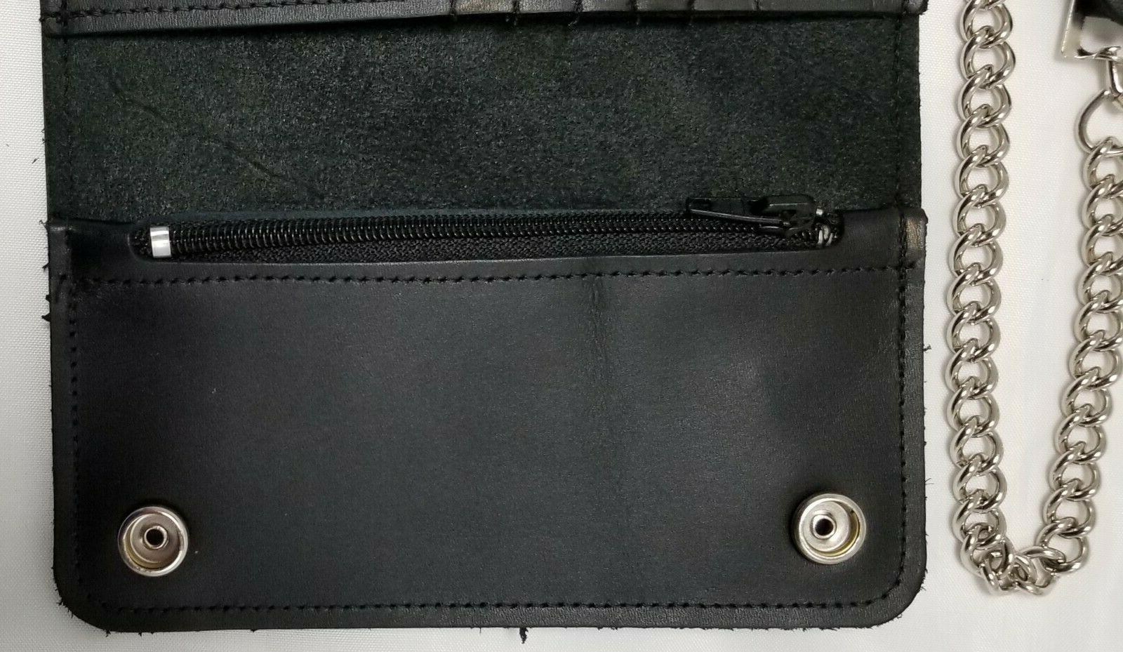 """Black Leather Wallet 6.5"""" x 3.75"""" Snaps 12"""" IN USA"""