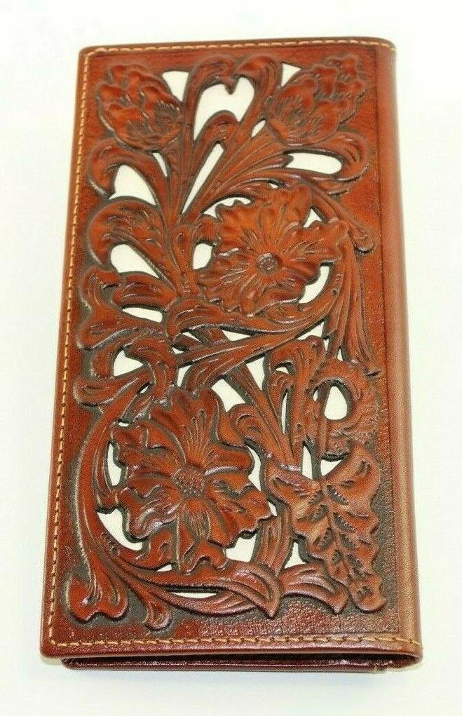 genuine leather embossed floral wallet western fashion