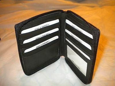 GenuineLEATHERBLACK  Bifold Big/Large/Tall WALLET for ID/Cre