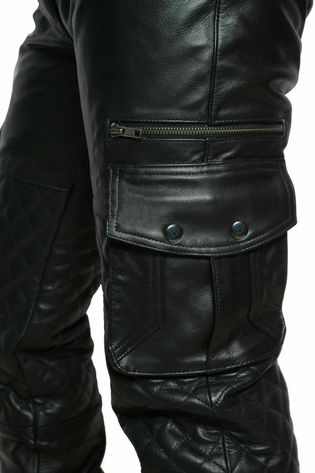 Men's Cowhide Quilted Panels Cargo