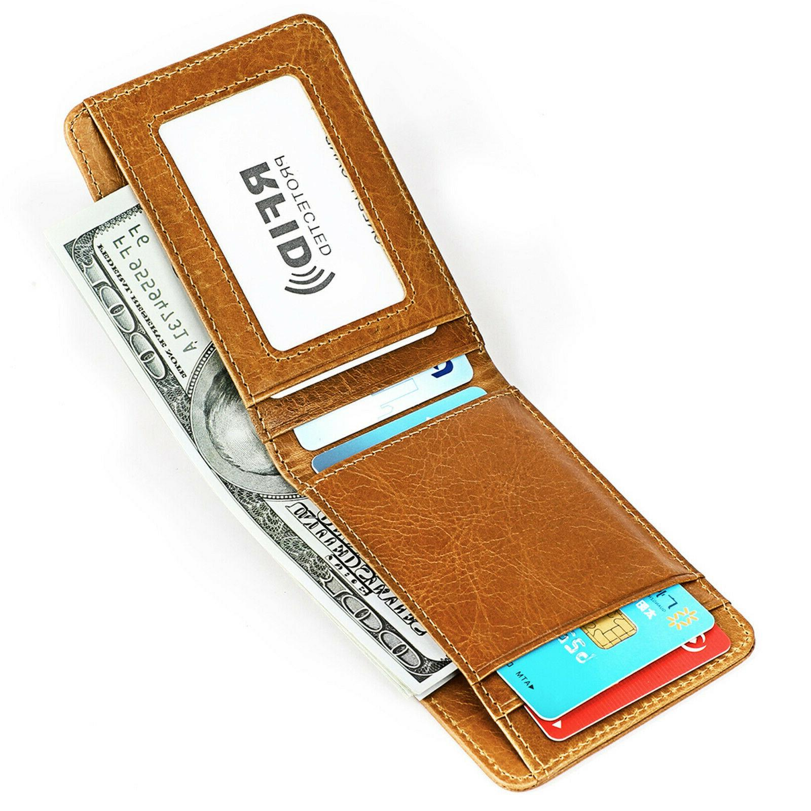 Men's RFID Grain Leather ID Slim and Compact Bifold Wallet