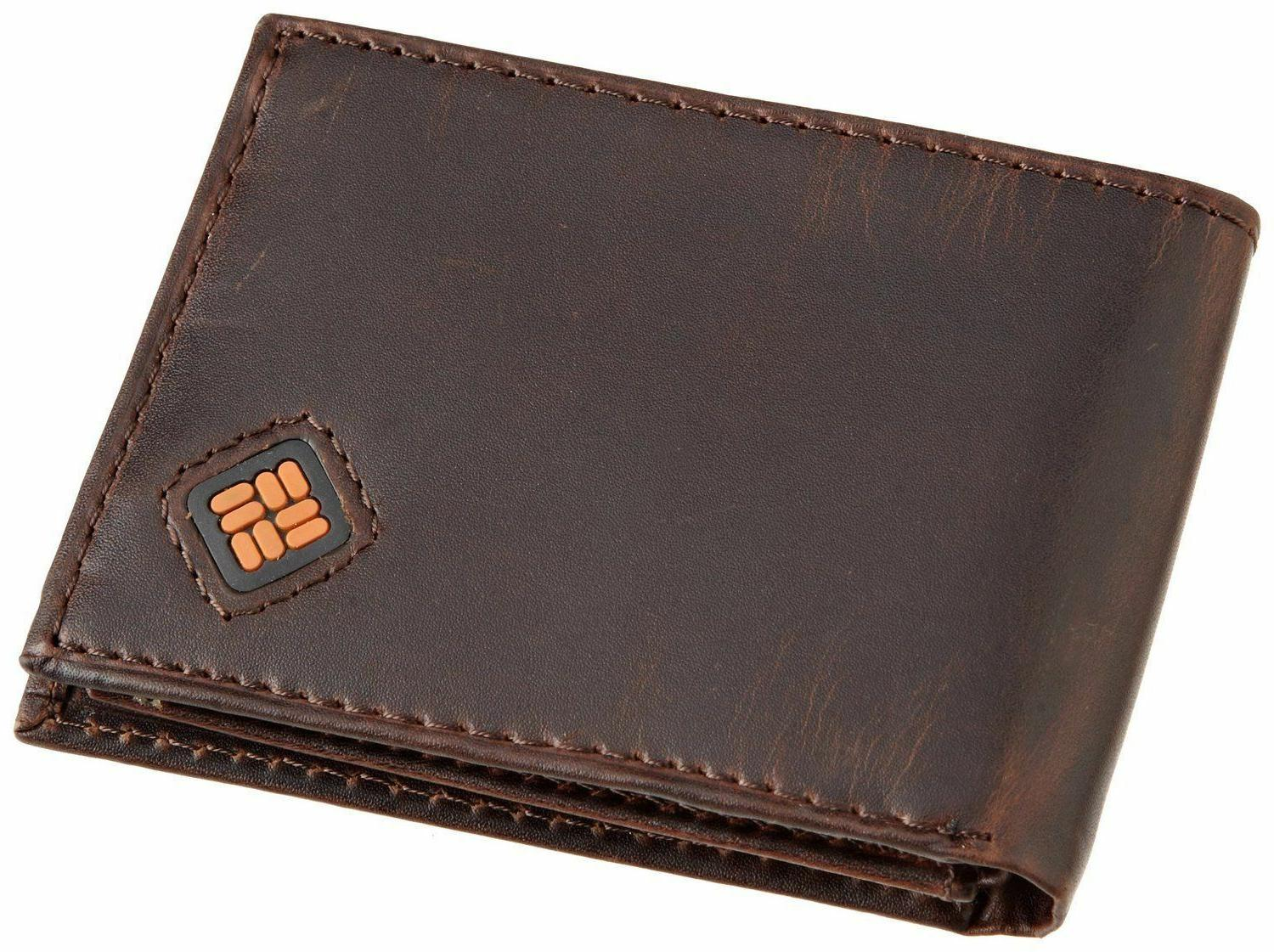 Columbia Mens Wallet 100% Leather Slim Brown One Size Travel