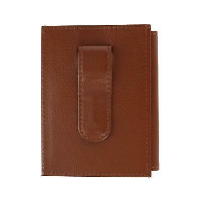 New CTM Men's Leather RFID Protected Card Case with Money Cl