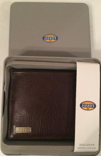 omega ml3614201 brown genuine leather wallet passcase