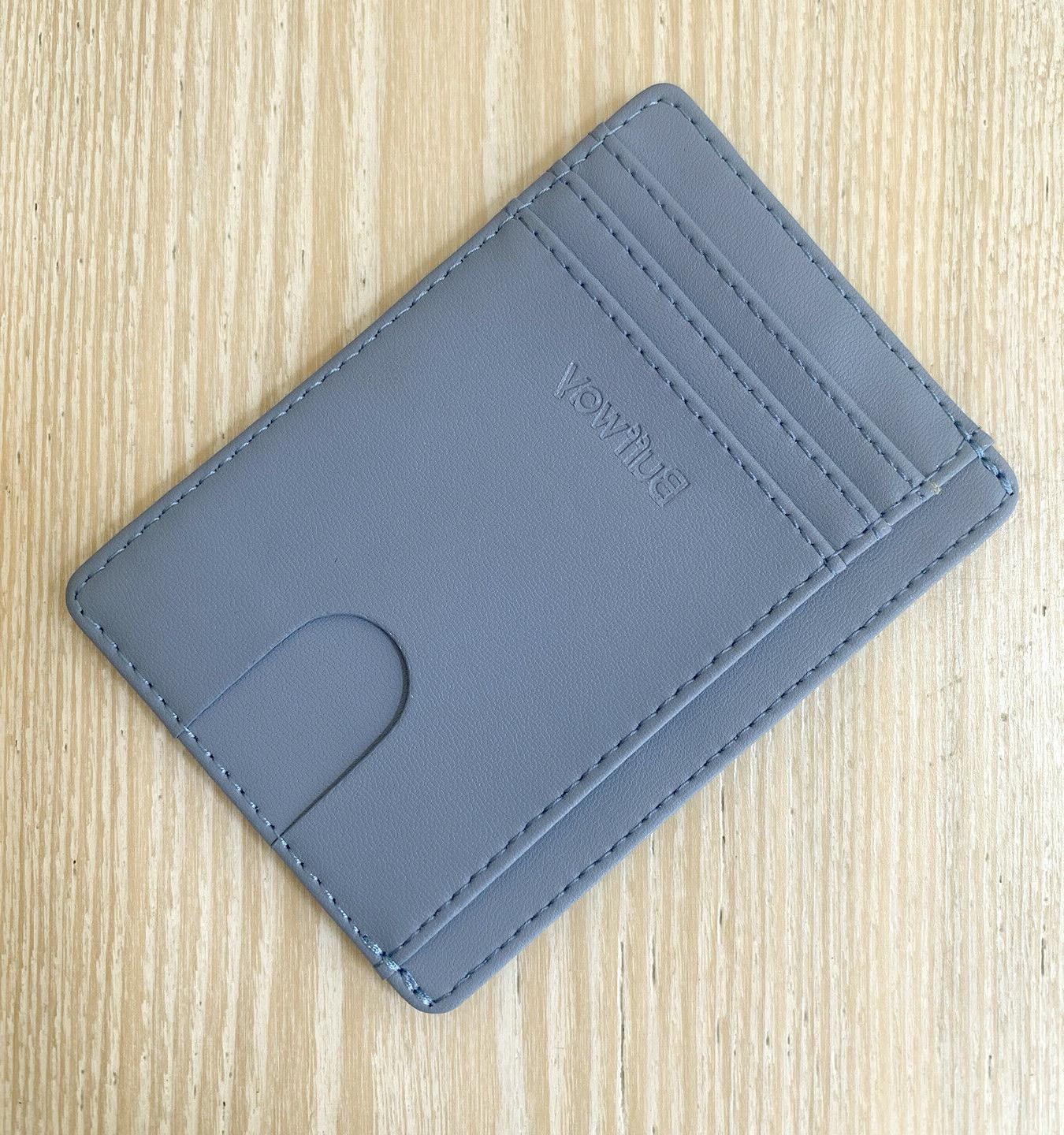slim blue leather wallet rfid protection