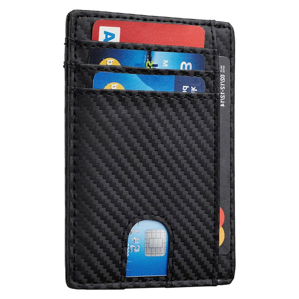 Slim Front Pocket RFID Blocking Carbon Wallets Mens Wallet