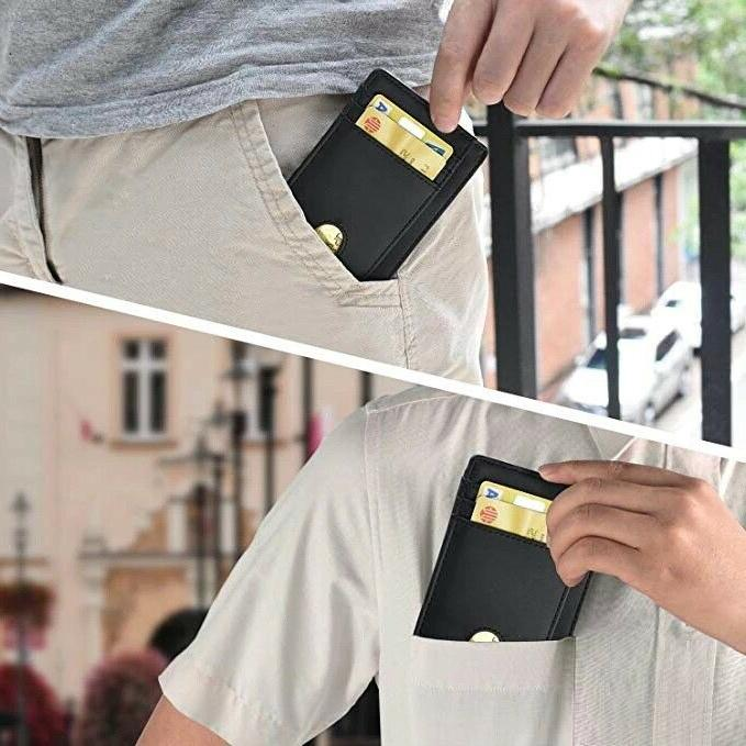 Slim Minimalist Front RFID Blocking Carbon Fiber Wallets for