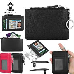 Leather Zip Credit Card Holder Wallet with ID Window Keychai