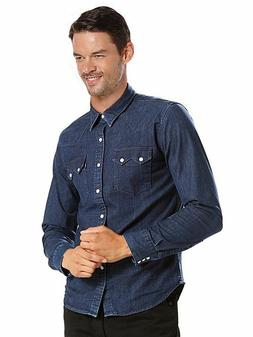 Levi's Men's Pearl Snap Barstow Western Casual Denim Dress S