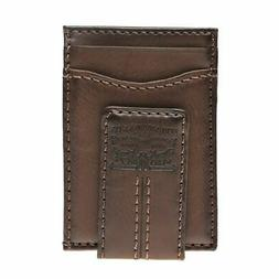 Levi's Men's Two Horses Logo Magnetic Card Case Wallet Brown