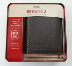 Levi's Mens Trifold Wallet w Zipper RFID Blocking Brown Le