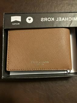 Michael Kors Men's Genuine Leather Brown Bifold Passcase Wal