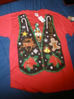 Men's Fruit of the Loom Holiday Tee Size M Red Vest Design 1