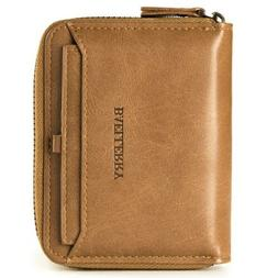 Men's Leather Bifold Credit ID Card Holder Wallet with Zippe