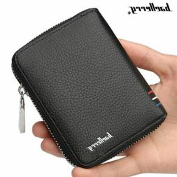 Men's Leather Business Wallet with COINS POCKET Zipper Purse