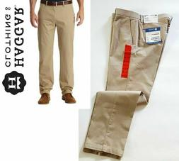Haggar Men's Sustainable Stretch Chino Flat Front Straight F