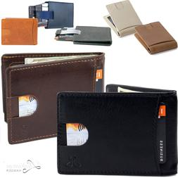 Men Slim Leather Bifold ID Credit Card Wallet with Money Cli