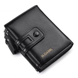 Men Wallet Double Zipper Hasp Design Small Card Holder Coin