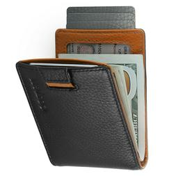 Mens Bifold Minimalist RFID Wallet -Thin Travel Wallets For