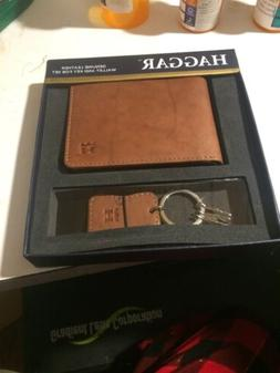 Haggar Mens Brown Leather Wallet With Key Fob