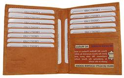 Mens Genuine Leather Bifold Wallet Slim Hipster Cowhide Cred