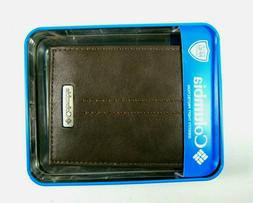 COLUMBIA MENS LEATHER BI-FOLD WALLET BROWN NWT