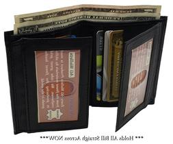 AG Wallets Mens Leather Bifold 8 Card Slots dual Flap 4 ID W