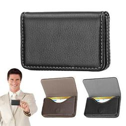 Mens Pocket Leather Business ID Credit Card Holder Case Wall