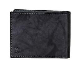 Haggar Mens RFID Marbled Leather Bifold Wallet Black