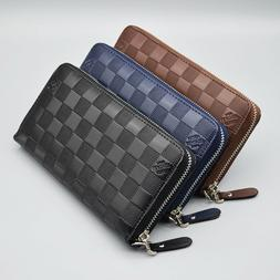 Mens Women Business Leather Long Wallet Zip Around Card Hold