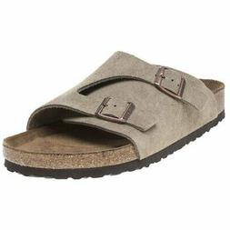 New MENS BIRKENSTOCK NATURAL KHAKI ZURICH SUEDE SANDALS SLID