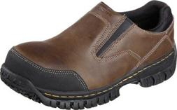 NEW Mens Skechers Work Relaxed Fit Hartan Brown Leather STEE