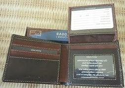 NIB, Haggar Clothing BROWN LEATHER/CANVAS SLIM BI-FOLD WALLE