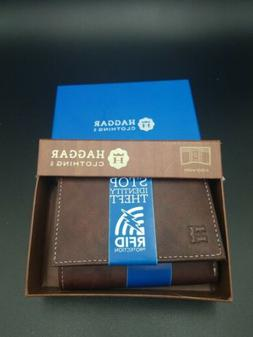 NIB Haggar Clothing Trifold Wallet Brown RFID