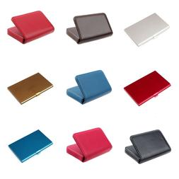 Portable Faux Leather Pocket Metal Business ID Credit Card H